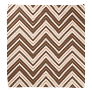 Retro Zigzag Pattern Cream Rust Brown Bandana