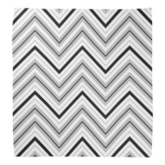 Retro Zigzag Pattern Grey Black White Bandana