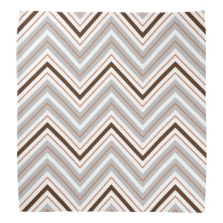 Retro Zigzag Pattern White Rust Brown Bandana