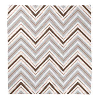 Retro Zigzag Pattern White Rust Brown Bandannas