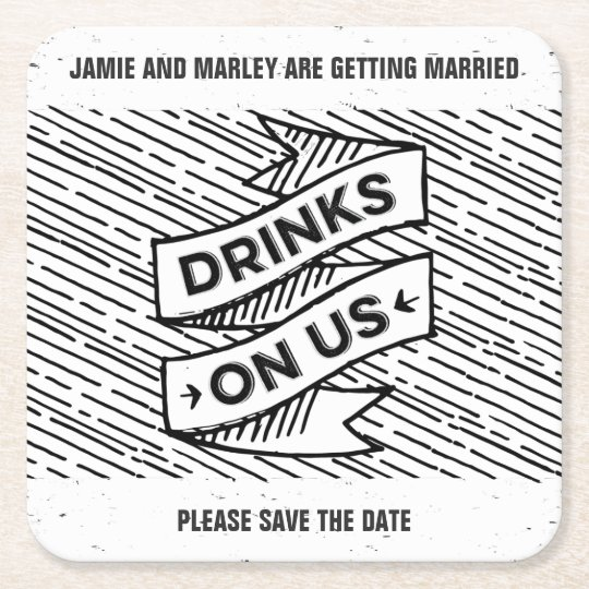 Retropress Drinks on Us Save the Date Coasters