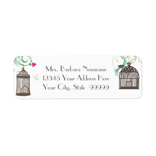 Return Address Bridal Shower Mod Bird Cage Heart Return Address Label