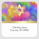 Return Address Colourful Painted Damask Any Colour Square Sticker