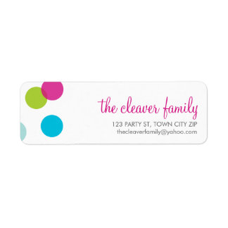 RETURN ADDRESS confetti large polka dot colorful Return Address Label