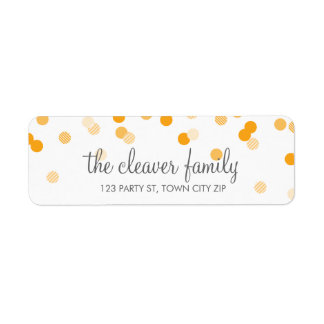 RETURN ADDRESS confetti polka dot bright orange Return Address Label