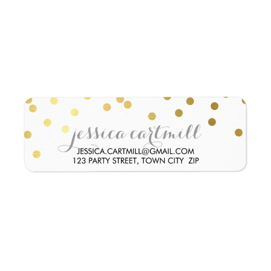 RETURN ADDRESS confetti polka dot gold chalkboard