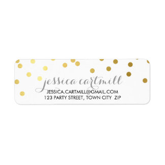 RETURN ADDRESS confetti polka dot gold chalkboard Return Address Label