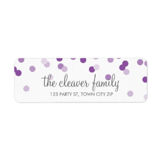 RETURN ADDRESS confetti polka dot violet purple Return Address Label