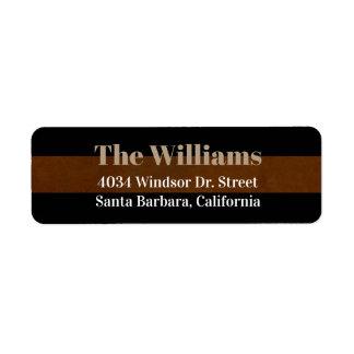 return address contact information black/brown