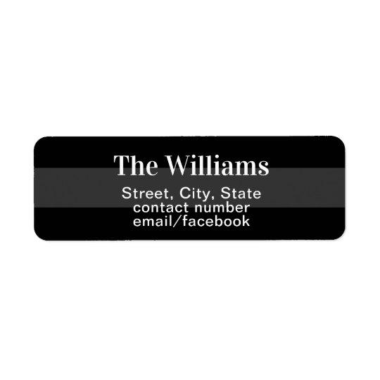 return address contact information black/grey