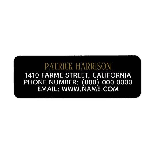 return address contact information on black