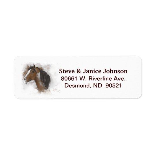 Return Address Label  (2 names) - Horse Head