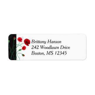 Return Address Label 2  Red Poppies   Black, Green