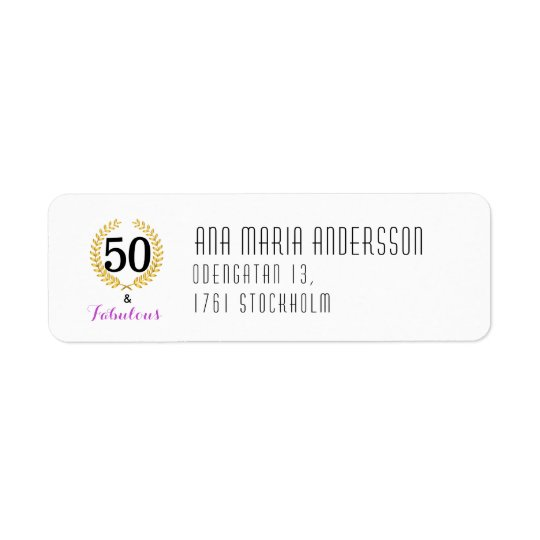 Return Address Label 50 and Fabulous Birthday