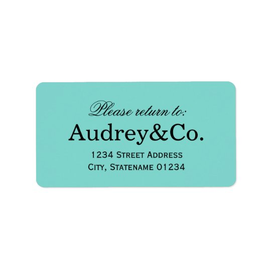 Return Address Label | Aqua Blue