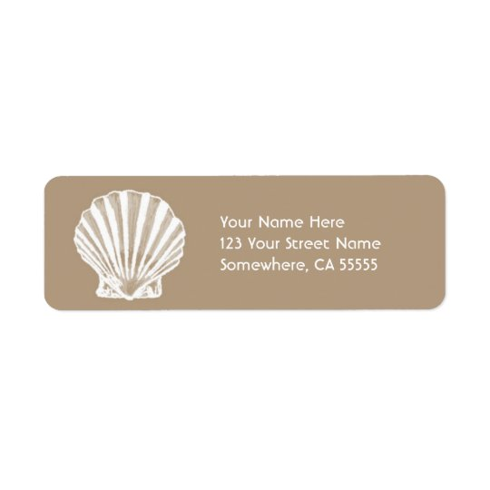 Return Address Label//Beige Sand Sea Shell