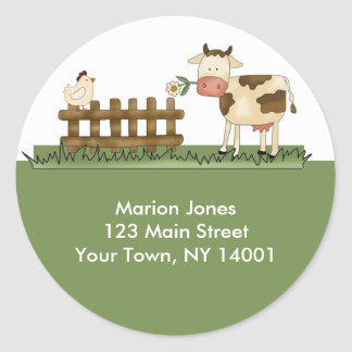 Return Address Label Home Sweet Farm Envelope seal Round Sticker