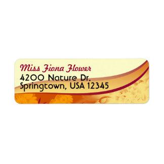 Return Address Label, Orange Yellow Flowers Return Address Label