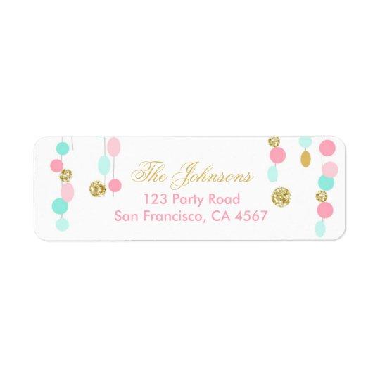 Return Address Label Pink Mint Gold glitter