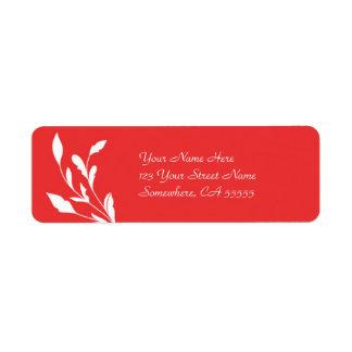 Return Address Label//Poppy Red Flourish