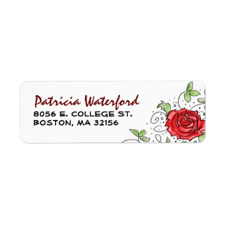 Return Address Label - Red Rose with Leaves 2