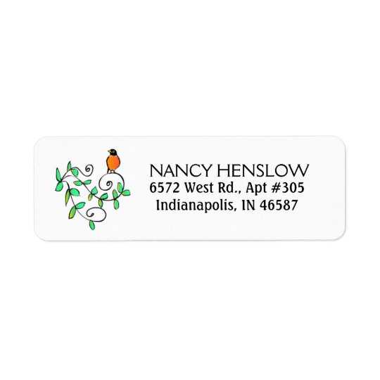 Return Address Label - Robin Bird - Leaves Design