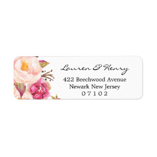 Return Address label - Rustic Pink floral #102 103