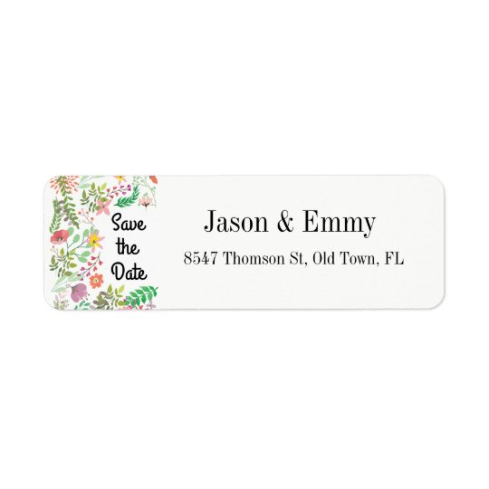 Return Address Label - Save the Date Floral Theme
