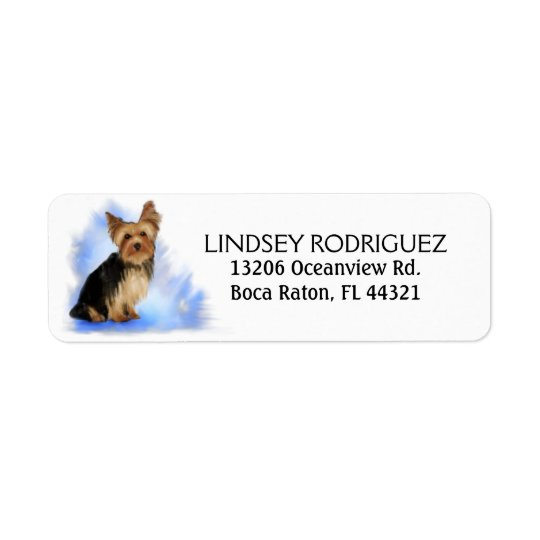 Return Address Label - Yorkie Yorkshire Terrier