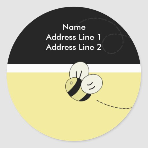 RETURN ADDRESS LABELS BEE HAPPY Bumble Bee Round Stickers