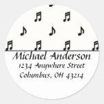 Return Address Labels :: Black Music Notes Round Sticker