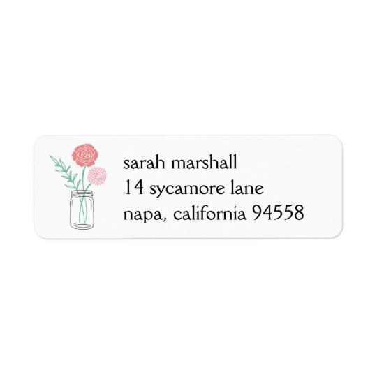 Return Address Labels | Botanical Mason Jar