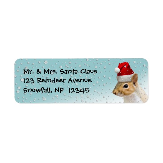 Return Address Labels Christmas Santa Squirrel