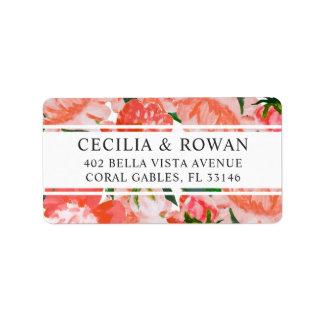 Return Address Labels | Coral Watercolor Flowers