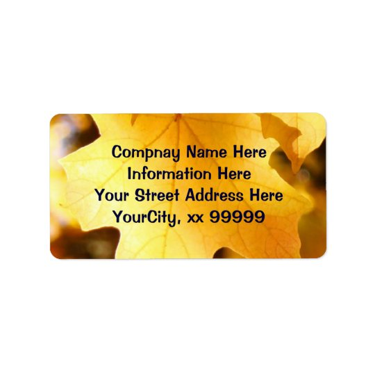 Return Address Labels Custom Golden Yellow Leaves
