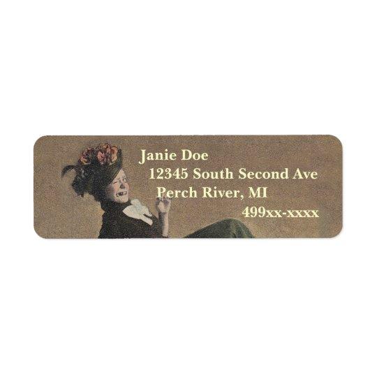 Return Address Labels Cute Funny Lady Vintage Wink