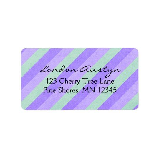 Return Address Labels │ Diagonal Stripes Purple