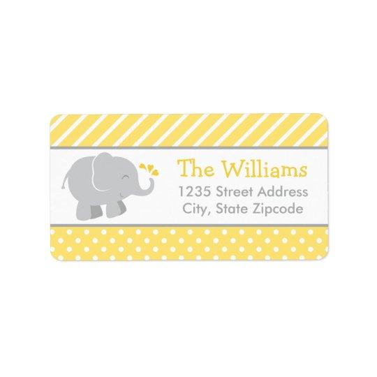 Return Address Labels | Elephant Yellow Grey