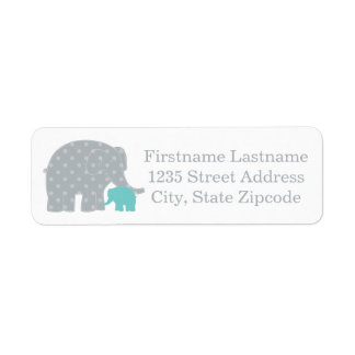 Return Address Labels | Elephants Aqua Blue Gray