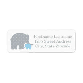 Return Address Labels | Elephants Blue and Gray