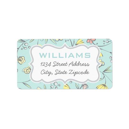 Return Address Labels | Floral Design in Blue