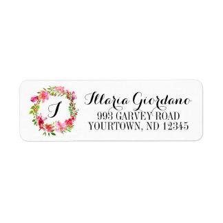 Return Address Labels - Floral Monogram Wreath