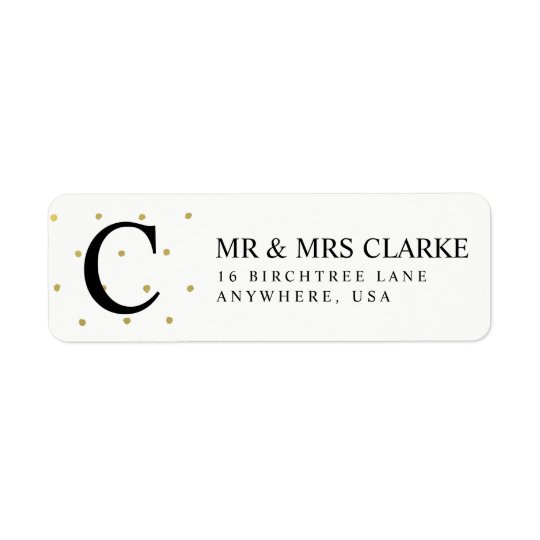 Return Address Labels - Gold Polka Dot Initial