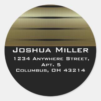 Return Address Labels :: Gold Stripes D3 Round Sticker