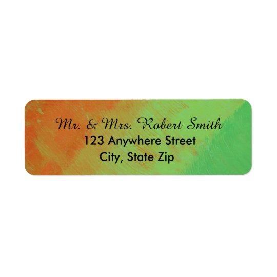 Return Address Labels Orange/Green/Yellow