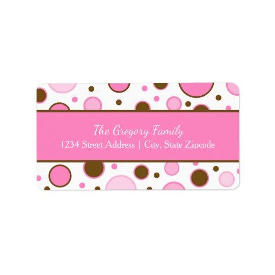 Return Address Labels │ Polka Dots in Pink & Brown