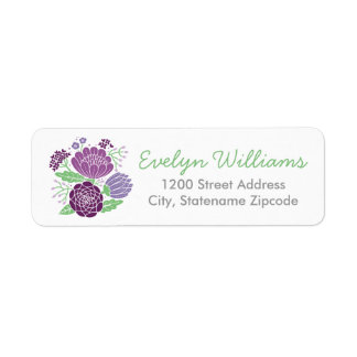 Return Address Labels   Purple and Green Flowers