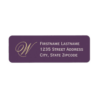 Return Address Labels   Purple, Champagne, Ivory