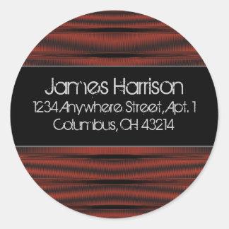 Return Address Labels :: Red Chrome D2 Black Round Sticker
