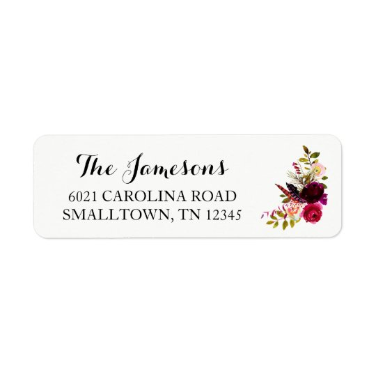 Return Address Labels - Red Floral Wreath Boho